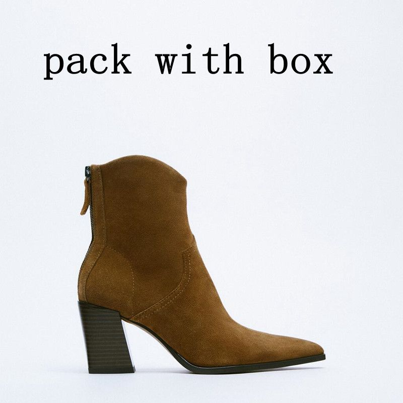ZA Suede Pointed Toe High-top New Style Boots Square High Heels Women Spring Autumn Casual Ankle Boots Womens Platform Heels