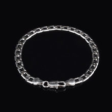 Fashion Curb Cuban Link Chain Flat Stainless Steel Silver Bracelets Punk Bracelet For Men Women Party Jewelry Gifts Wholesale(China)