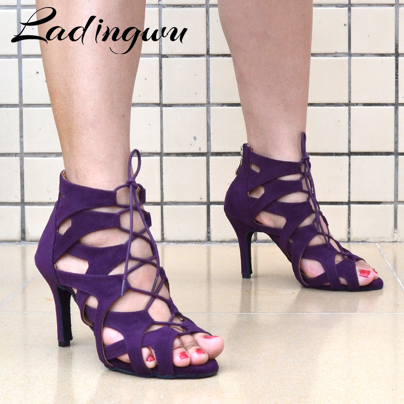 Ladingwu Ladingwu Lady Dancing Shoes Salsa Latin Women Ballroom Dance Shoes For Women Purple Suede Dance Boots Fashion Design