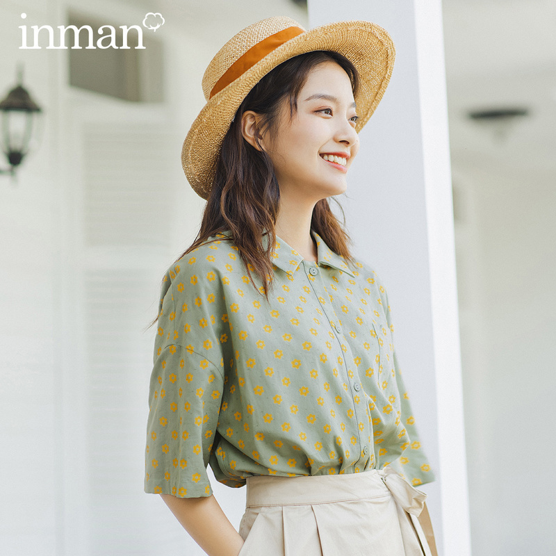 INMAN 2020 Summer New Arrival Casual Style Little Flower Contarst Color Cute Cool Cotton Half Sleeve Fashion Blouse