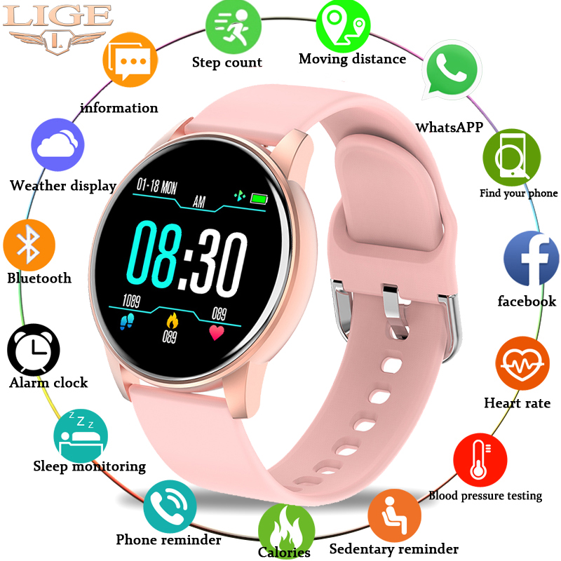LIGE Fashion Woman Smart Watch Sports Fitness Tracker For Android ios Heart Rate Blood Pressure Monitor Pedometer smartwatch men