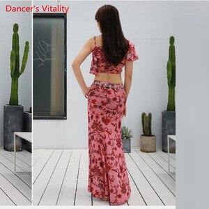 Image 3 - קיץ הגעה חדשה בגדי ביצועים בטן ריקוד שמלת נשים של 2 חתיכה להראות (קצר שרוול חולצה חצאית סדק חצאית) ורוד