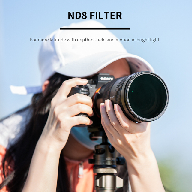 K&F Concept HD ND8 Filter Camera Lens Multi-Resistant Nano X Coating Filter Density 49mm 52mm 58mm 62mm 67mm 72mm 77mm 82mm 4