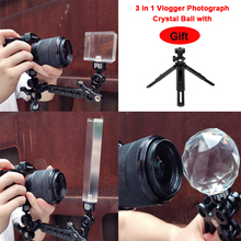 3 w 1 Vlogger fotografia kryształowa kula szkło optyczne magiczna kula fotograficzna z efektem blasku 1/4 dekoracyjne Studio fotograficzne