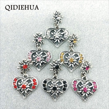 3pcs 23*28mm Antique Silver Edelweiss Multicolor Crystal Heart Charm Pendant Necklace Making Bohemian Hollow Carved Flower