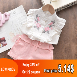 Girls Embroidered Sleeveless Shirt + Shorts Two-piece Suit Summer Cute Flower Clothes 3-8 Years Old Kid Casual Sport Suit Tshirt