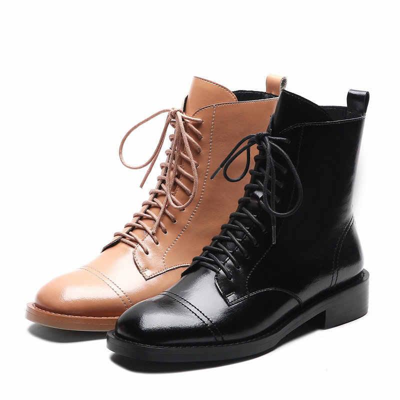 ESVEVA/2021 г. Ботильоны из коровьей кожи на квадратном каблуке со шнуровкой женские ботинки на платформе с круглым носком на молнии размер 34-39