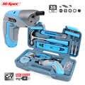 Hi-Spec nouveau 4V USB Charge électrique tournevis ensemble d'outils à main rouge bleu rose couleur ménage réparation trousse à outils à main outils de bricolage