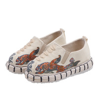 Tamanho grande crianças espadrille bordar sapatos confortáveis deslizamento em apartamentos crianças meninos sapatos casuais respirável cânhamo flamingo