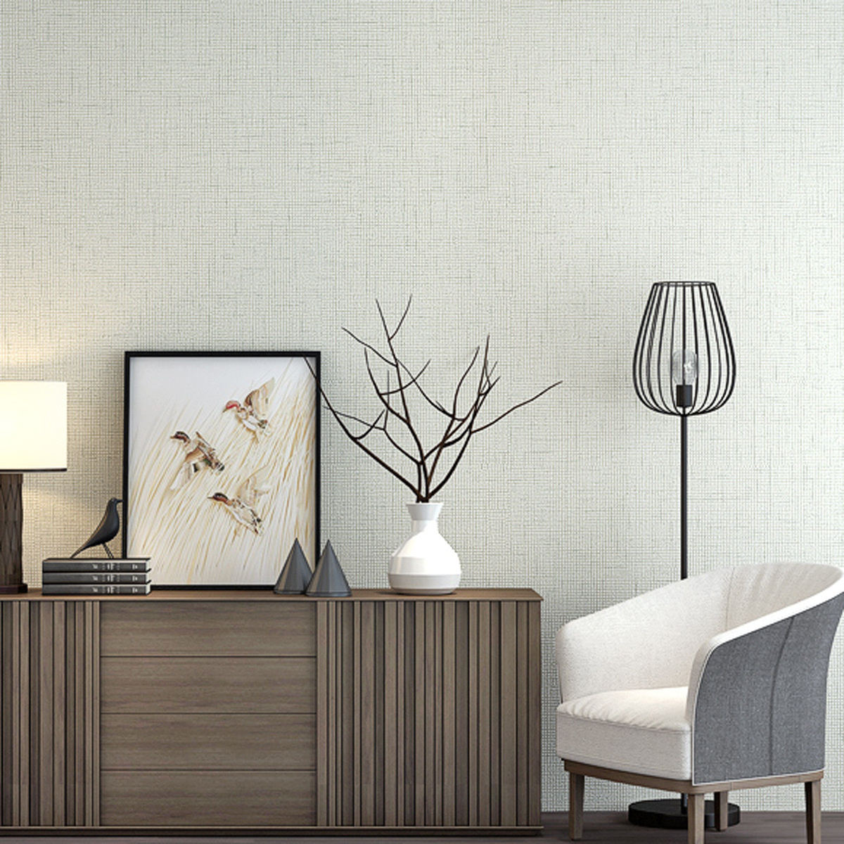 Modern Minimalist Net Version Plain Color Flax Pattern Non-woven Wallpaper Bump Solid Color Wall-to-Wall Bedroom Living Room Bac