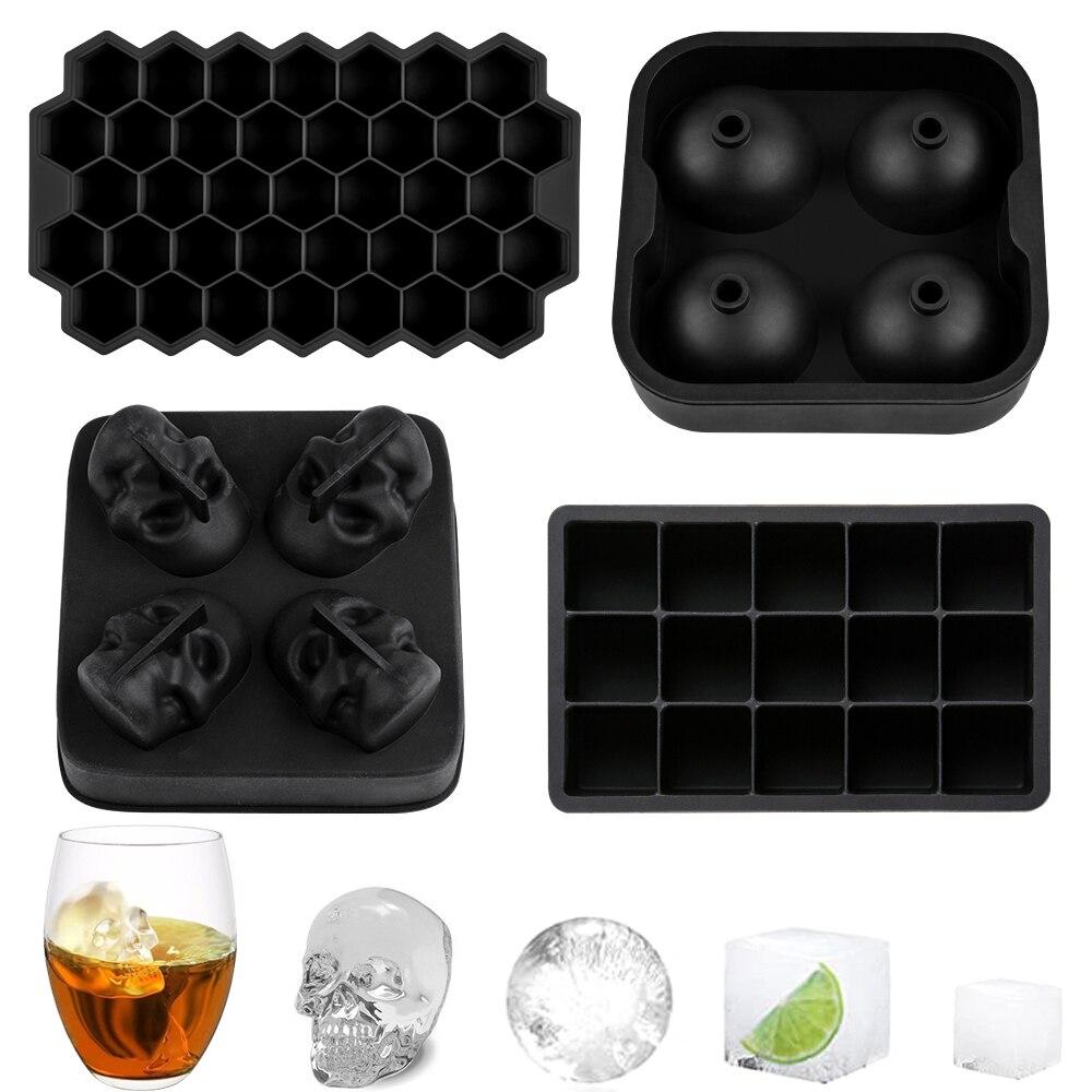 Silikolove quadrado crânio ice cube maker bola de gelo molde silicone cubos de gelo bandejas para festa bar bebidas uísque verão