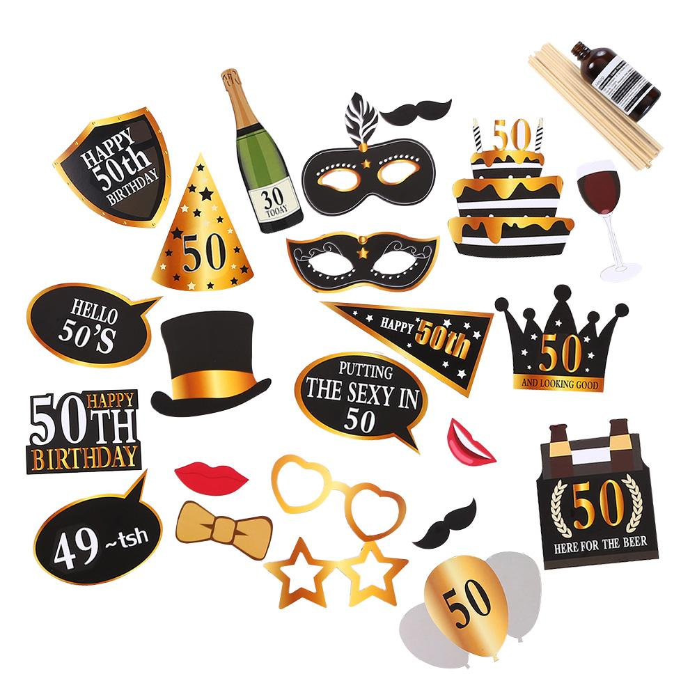 24PCS/Set 30th/<font><b>50th</b></font>/60th Happy <font><b>Birthday</b></font> Photo Booth Prop Anniversary <font><b>Birthday</b></font> Party Man Woman Style Funny Gift <font><b>Decor</b></font> Supplies image