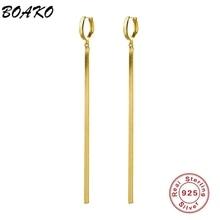 Loop-Earrings Chain Snake 925-Sterling-Silver Gold BOAKO Tassel Minimalist Long Women