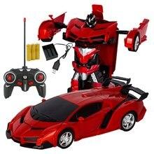 Светодиод свет Rc автомобиль трансформация робот автомобиль 1% 3A18 деформация RC автомобиль игрушка электрический робот автомобили модели подарок для мальчика девочек подарки