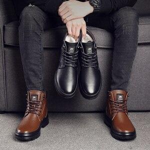 Image 5 - أوسكو جلد أصلي للرجال أحذية برقبة طويلة مقاومة للماء الرجال حذاء كاجوال موضة حذاء من الجلد للرجال عالية أعلى الشتاء الرجال الأحذية