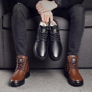 Image 5 - Osco couro genuíno homem botas à prova dwaterproof água sapatos casuais moda botas de tornozelo para homens de alta qualidade botas de inverno