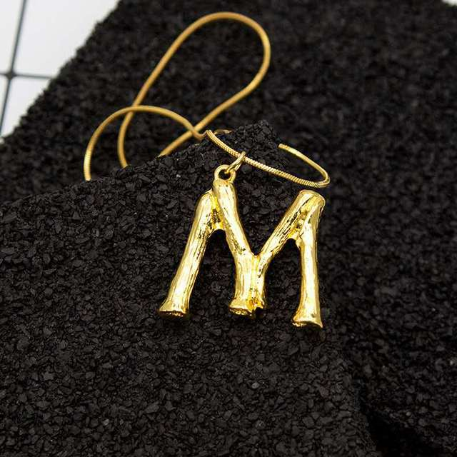 Gold Letter Alphabet M-S Minimalist Initial Pendant Necklace Fashion Jewelry