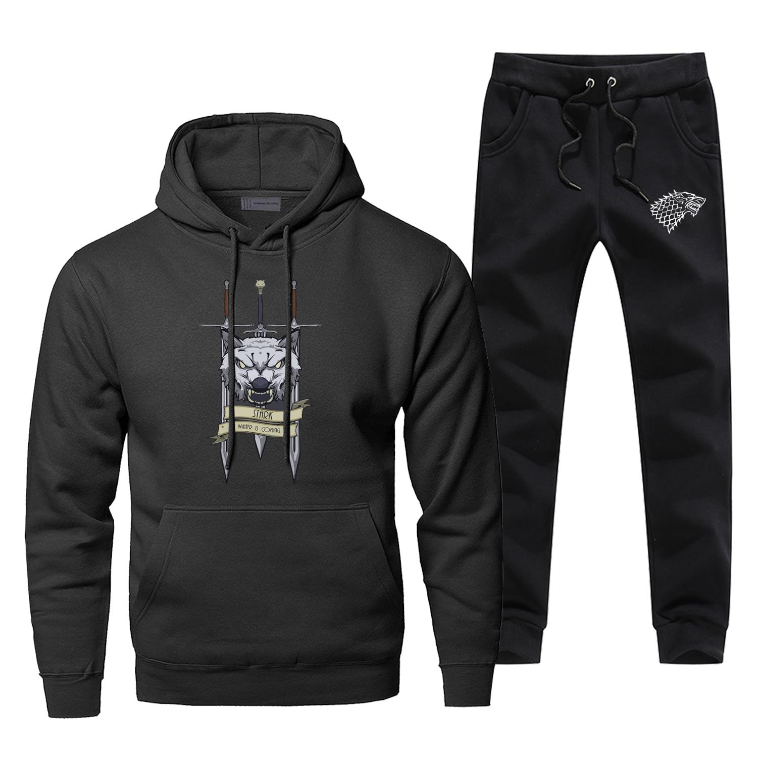 Fashion Game Of Thrones House Stark Print Sweatshirt Hoodies Pants 2pcs Sets Men Fleece Sportswear Tracksuit Harajuku Streetwear