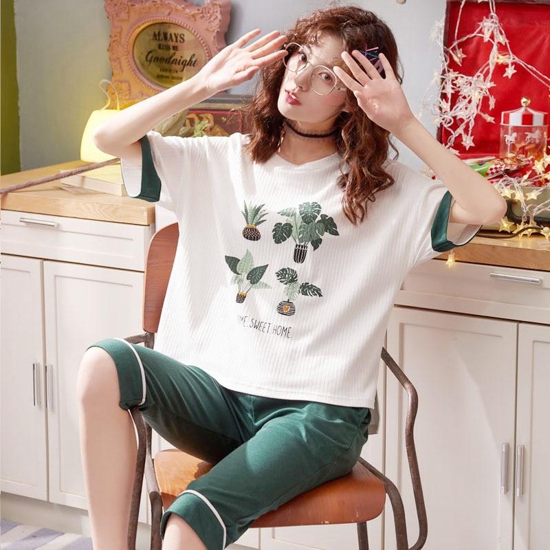 2019 Summer 6535 Sunken Stripe Pajamas WOMEN'S Suit Sweet Short Sleeve Capri Pants Tracksuit Piece 5534