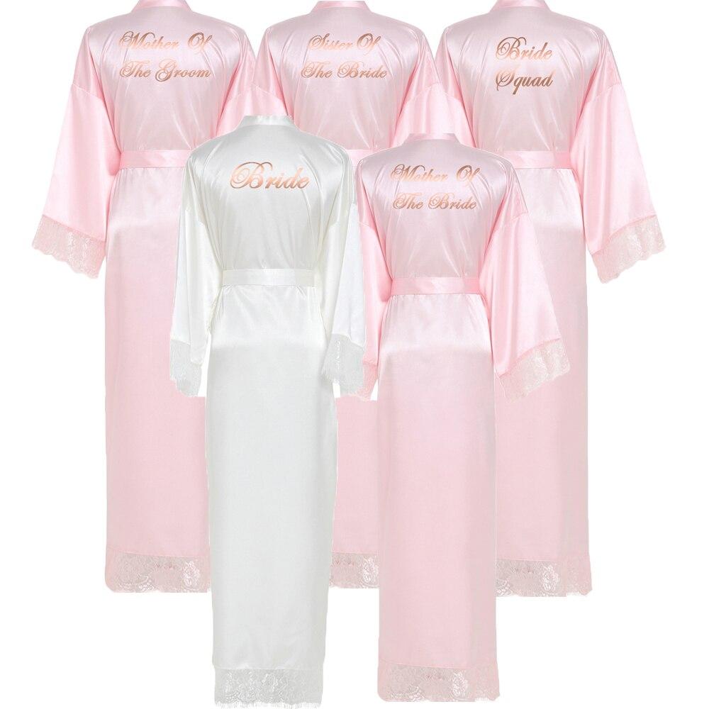 Owiter Long Silk Satin Robe Bridesmaid Robes W/ Lace Trim Robe Bridal Wedding Robe Sleepwear Bathrobe Long Gowns For Women Pink