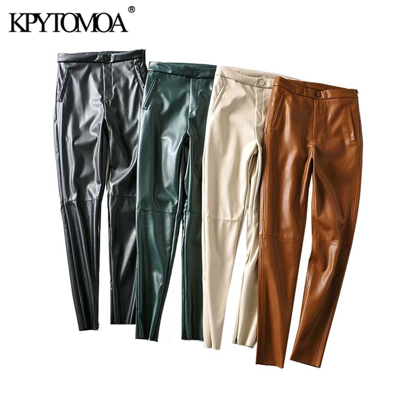 Vintage Stylish PU Faux Leather Legging Pants Women 2020 Fashion Side Zipper Pockets Decorate Female Ankle Trousers Pantalones