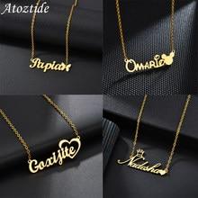 Atoztide mode nom personnalisé en acier inoxydable colliers personnalisé bijoux chaîne couronne coeur papillon collier pour les femmes cadeaux