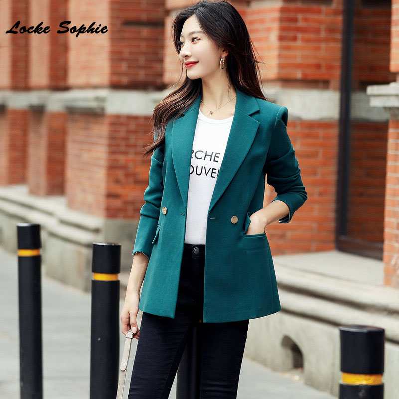 1pcs Women's Plus Size Slim Fit Blazers Coats 2019 Winter Cotton Splicing Small Suits Jackets Ladies Skinny Office Blazers Suits
