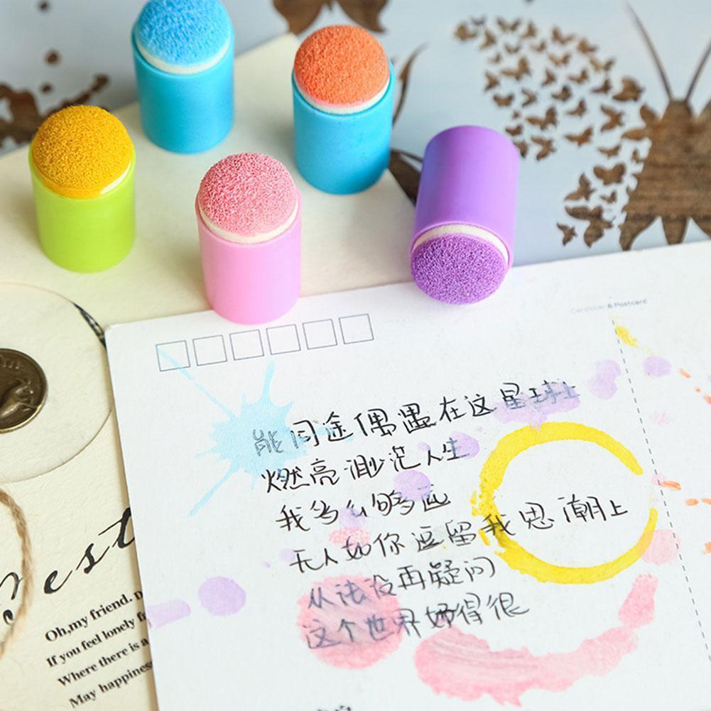 5 Pcs/set Painting Craft Set Finger Paint Drawing Sponge Ink Foam Durable Daubers Chalk Art Finger Stamping Tools Sponge Fi K9K0