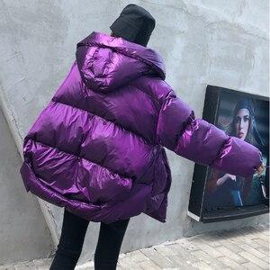Image 3 - Зимняя плотная женская куртка с хлопковой подкладкой, теплая свободная парка для девочек с капюшоном, женское пальто с большими карманами, короткая стильная асимметричная подкладка