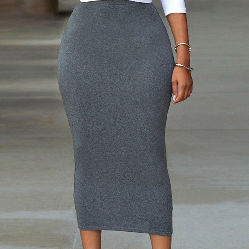 Высокая талия облегающая юбка для женщин до середины икры Повседневная Офисная Женская юбка OL юбка однотонная черная серая зеленая макси