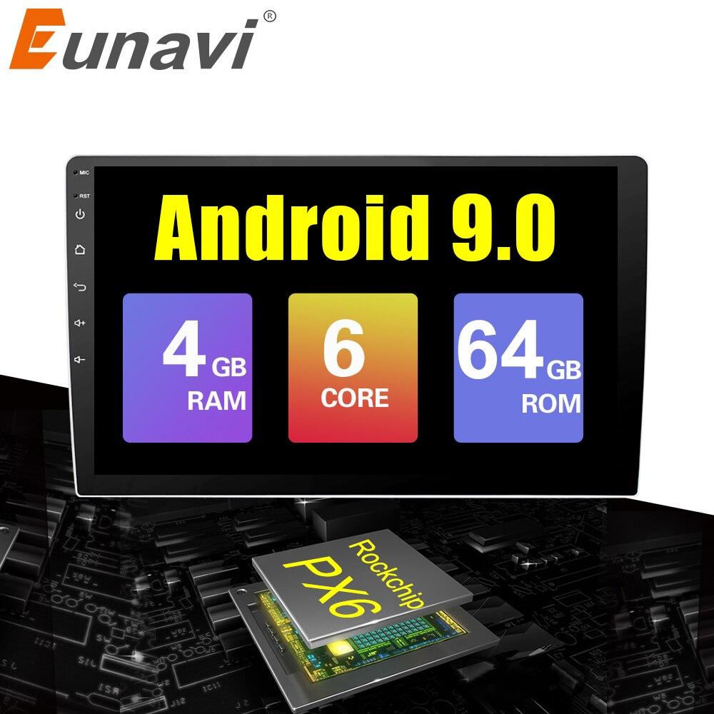 Eunavi 9/10 pouces Android 9.0 universel autoradio stéréo 4G 64G RK3399 2 din android lecteur DVD de voiture GPS Navigation WIFI BT Audio