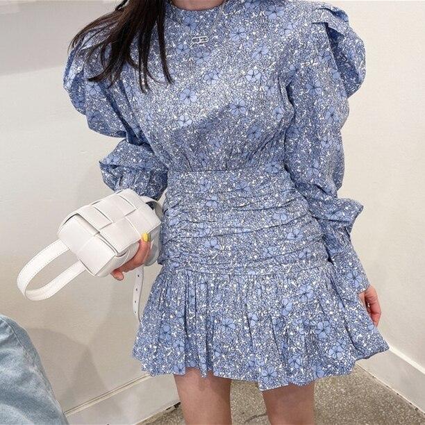 Retro Fashion Flower Print Women Casual O-Neck Puff Long Sleeve Dress 2021 Summer Casual Ruffles Beach Short Dress 4