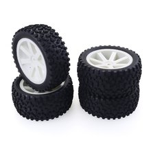 цена на 4PCS 1/10 RC Car Rubber Tyres Plastic Wheels for Redcat HSP HPI Hobbyking Traxxas Losi VRX LRP ZD Racing 1/10 Buggy