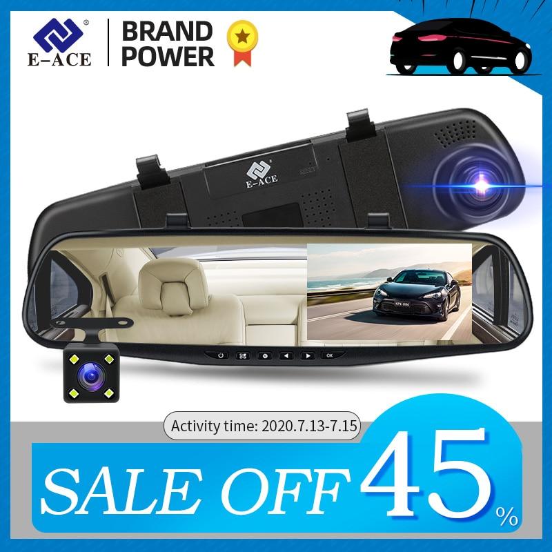 E-ACE A33 Mirror Dvr 4.3 Inch Dashcam FHD 1080P Automatic Camera Auto Registrar with Rear View Camera Video Recorder Car Dvrs
