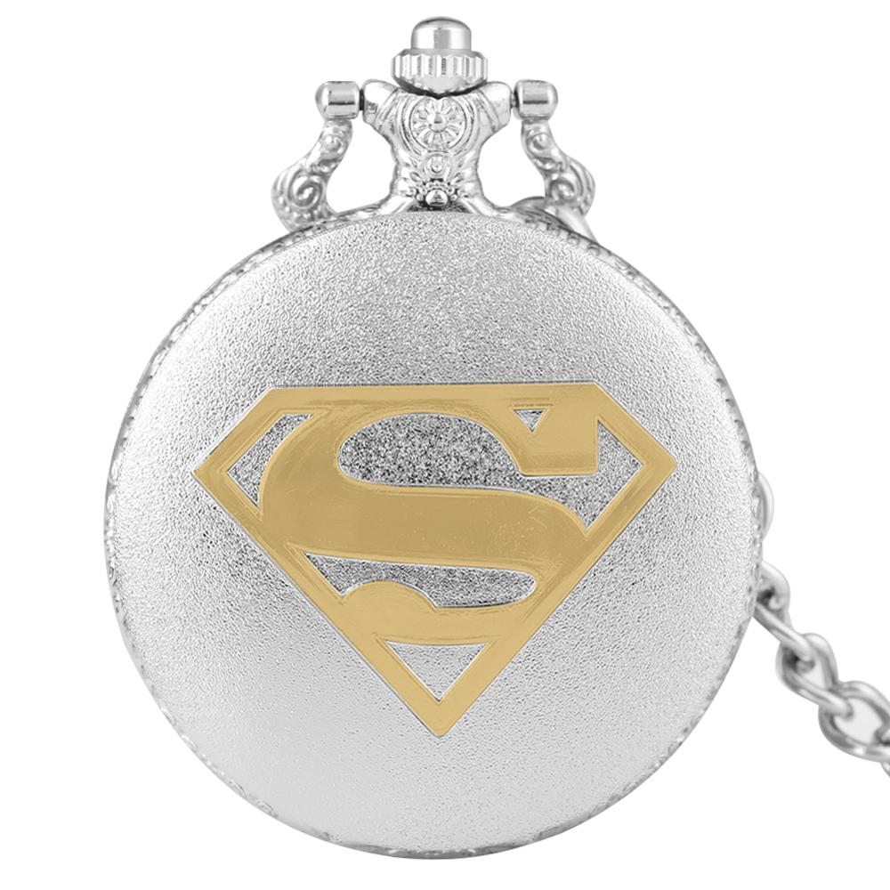 Sliver Color Case Gold Superman Logo Pocket Watch High Quality Fob Pendant Watches For Boys/Girls Reloj De Bolsillo