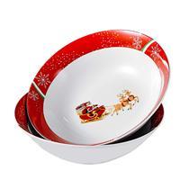 VEWEET CHRISTMAS Pattern 2 Piece Porcelain 1125ML Bowl Set Large Cereal Bowl Soup Salad Bowl Set Service for Christmas Day
