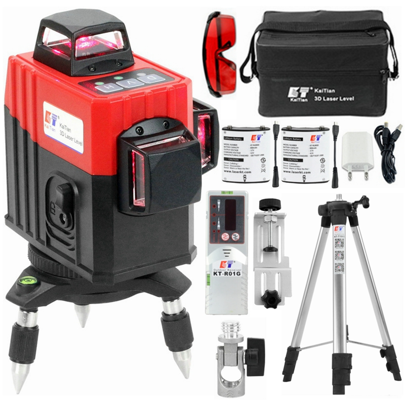 KaiTian 3D Laser Level 12 Lines Lithium Battery Self-Leveling 360 Horizontal&Vertical Cross Line Lasers Tripod &Outdoor Receiver