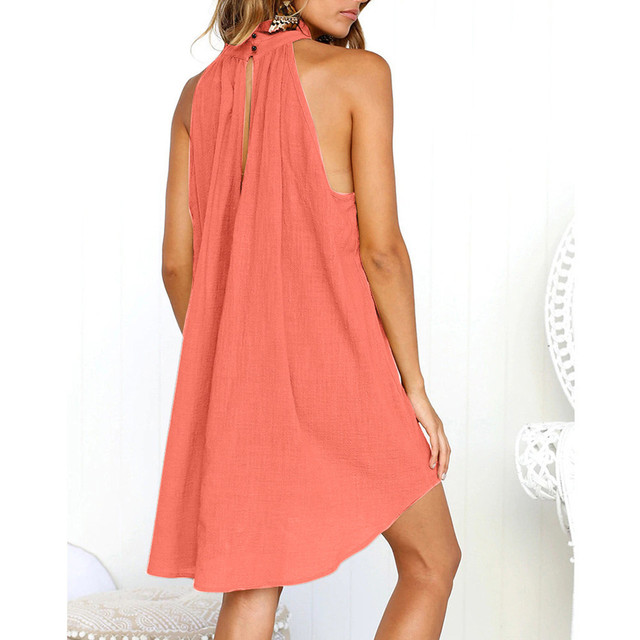 Turtleneck Dress Above Knee Solid Color Irregular Dress Ladies Summer Beach Style Sleeveless Party Sundress Loose Bohemian Robe 2