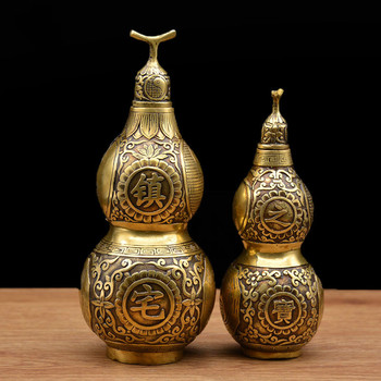 Gourd Decoration Pure Copper Crafts Town House Treasures Copper Gourd Feng Shui Supplies Ornaments  Christmas Figurines