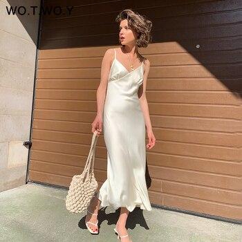 WOTWOY Sexy Scollo A V Abiti Senza Maniche Delle Donne Della Cinghia di Spaghetti Mid-Calf Fodero Vestiti Da Partito Femme Vestiti di Estate Delle Donne 2020 Nuovo