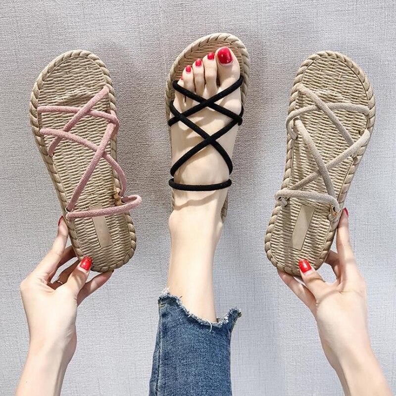 2020 summer new two wear sandals women's Korean flat bottom thin belt cross Roman beach shoes all kinds of women sandals