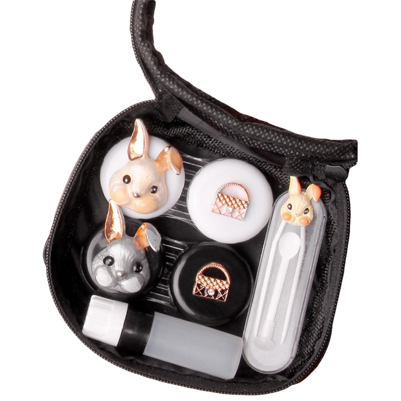 Contact Lens Cases Cute Rabbit Portable Travel Kit with Tweezers Container Holder Mirror Box-Funny Designs-Easy Carry (Rabbit)