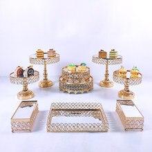9 pçs conjunto de suporte de bolo de casamento redonda festa de aniversário sobremesa metal cupcake pedestal placa de exibição decoração para casa