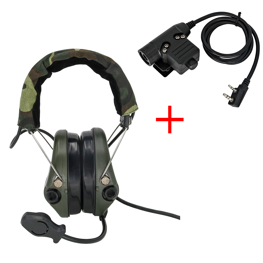 Tactical Sordin Headset Hunting Shooting Headphone Military Pickup Noise Reduction Hear Protection Earmuff FG + U94 2 Pin Ptt