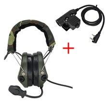 Tactische Sordin Headset Jacht Schieten Hoofdtelefoon Militaire Pickup Ruisonderdrukking Horen Bescherming Oorbeschermer Fg + U94 2 Pin Ptt