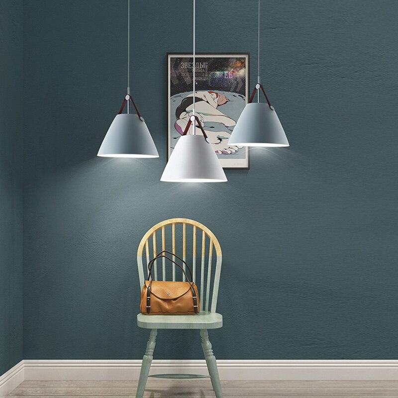 Işıklar ve Aydınlatma'ten Kolye ışıkları'de Iskandinav tarzı kolye ışık deri kolye lamba basit tarzı dekorasyon ışıklandırma title=