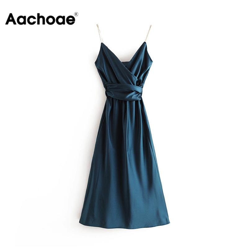 Women Elegant Satin Blue Party Dress Sexy Sleeveless Backless Long Dresses Female Solid Elastic Waist Spaghetti Strap Dress