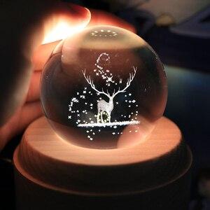 Image 2 - Caixa de música de madeira luminosa, caixa de música bluetooth com rotação, bola de cristal, música, lua com projetor, luz para aniversário, natal e ano novo, presente