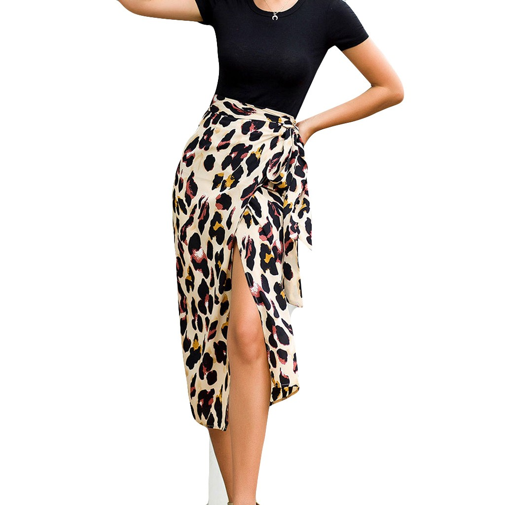Autumn Women Sexy Leopard Skirt Long Skirt Fashion Hight Waist Skirt Modis Streetwear Rokjes Dames Faldas Mujer Moda 2020 #W