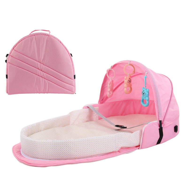 Portable Bassinet For Baby Foldable Baby Beds Travel  Sun Protection  Breathable Infant Sleeping Basket With Toys Beds Bag